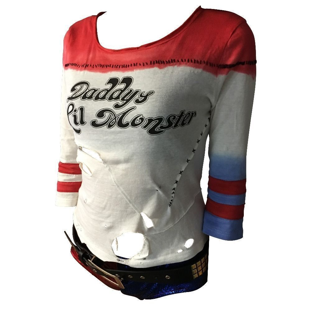 handmade ripped hole cosplay harley quinn t shirt daddy 39 s. Black Bedroom Furniture Sets. Home Design Ideas