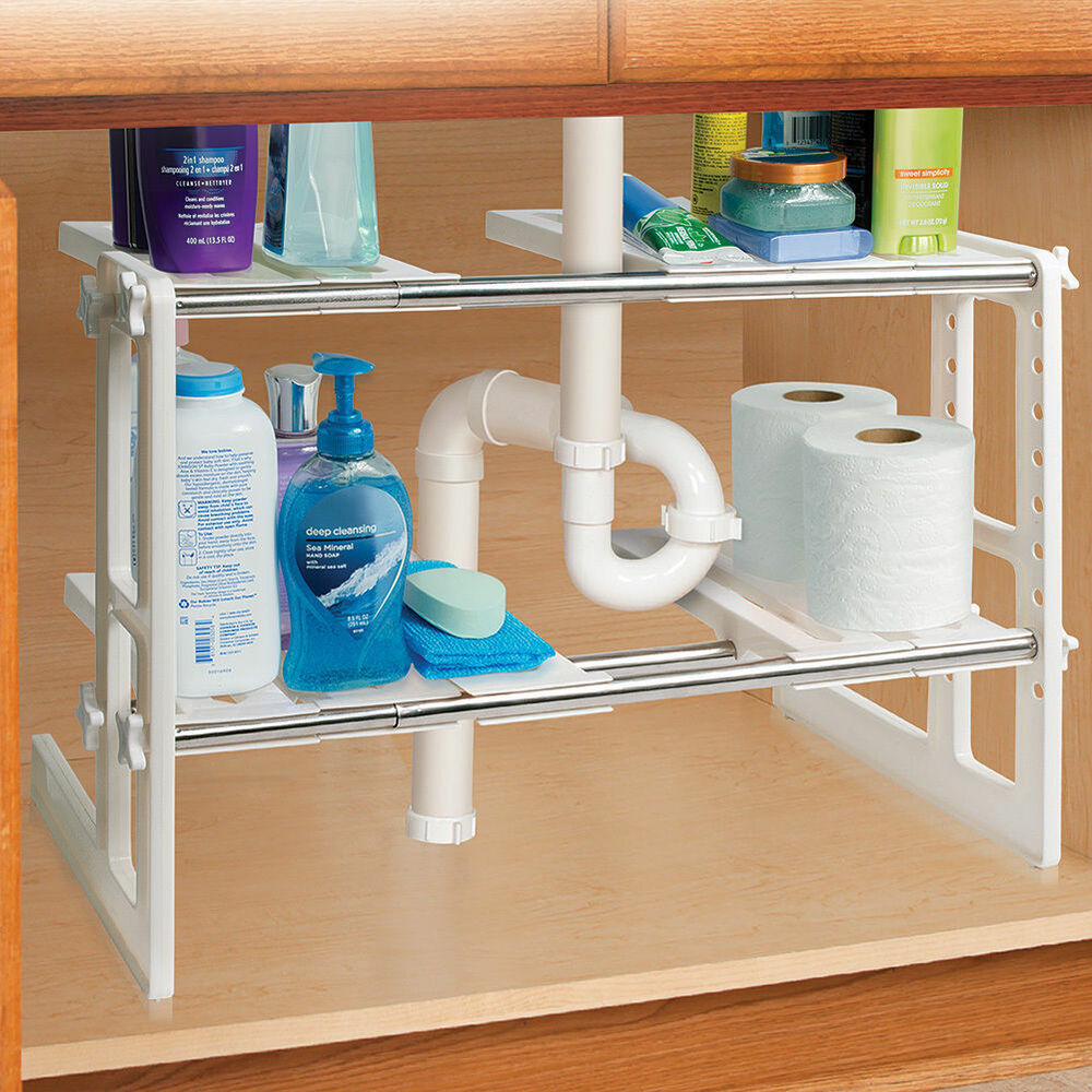 under sink shelves storage shelf organizer bathroon adjustable organization new ebay. Black Bedroom Furniture Sets. Home Design Ideas