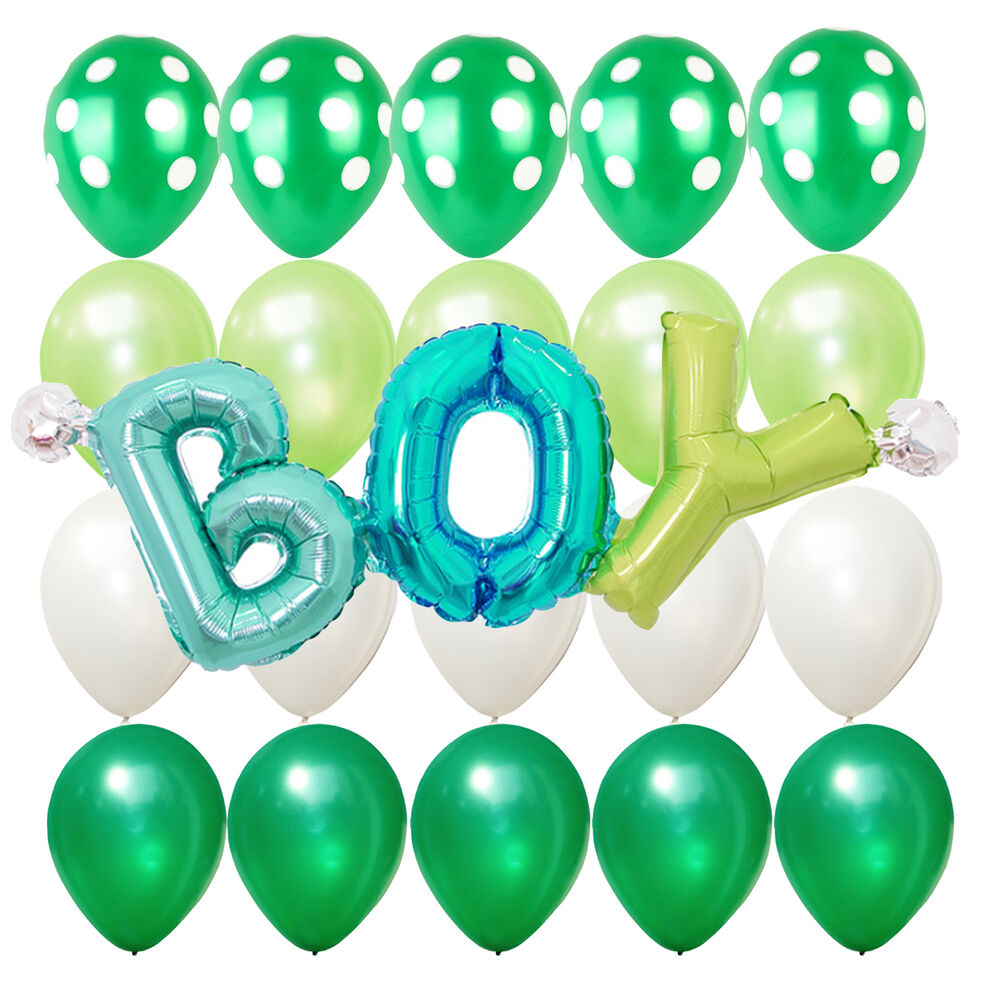 green white polka dots balloons boy lettering baby shower