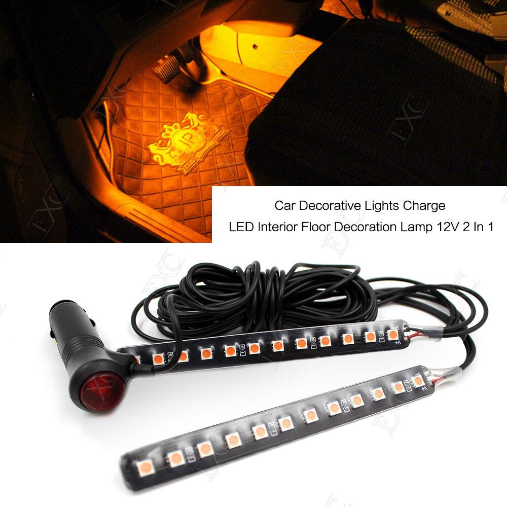 car interior footwell floor decorative 12 led cigarette lighter plug light strip ebay. Black Bedroom Furniture Sets. Home Design Ideas