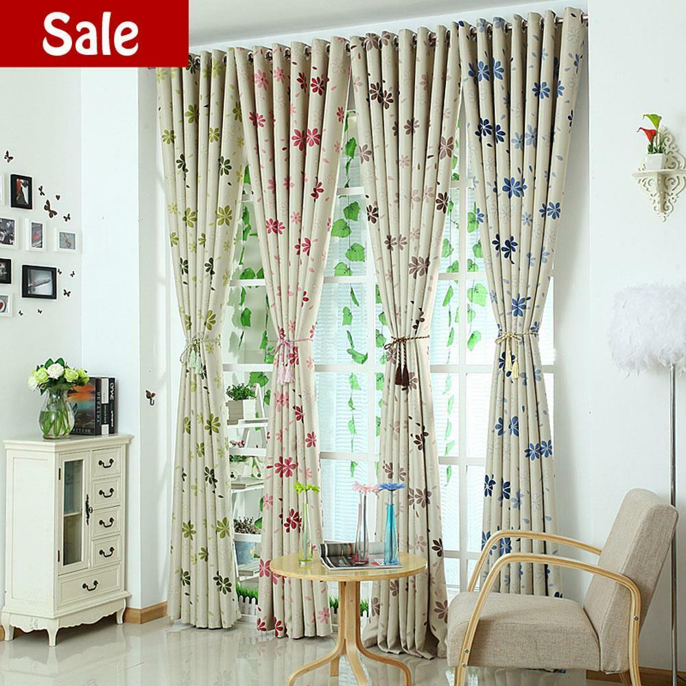 Quality leaf print blockout eyelet blackout bedroom kids - Childrens bedroom blackout curtains ...