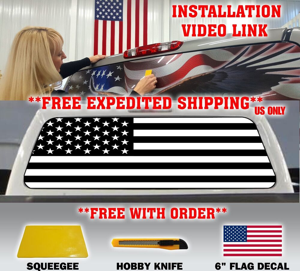 American Flag Black Amp White Pick Up Truck Rear Window