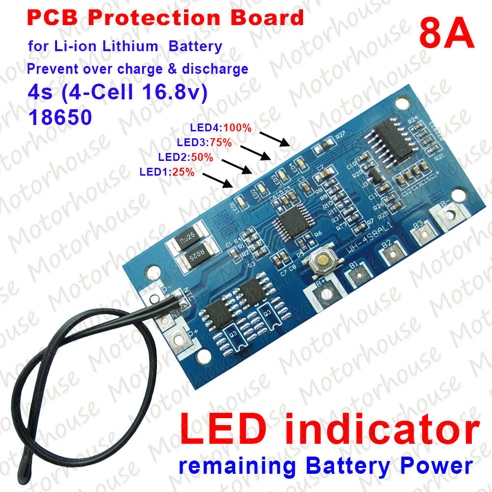 4s 8a 148v 168v Li Ion Lithium Battery Pack Bms Pcb Protection Circuit Module Pcm For 111v 3s Liion Lipolymer Capacity Led Ebay
