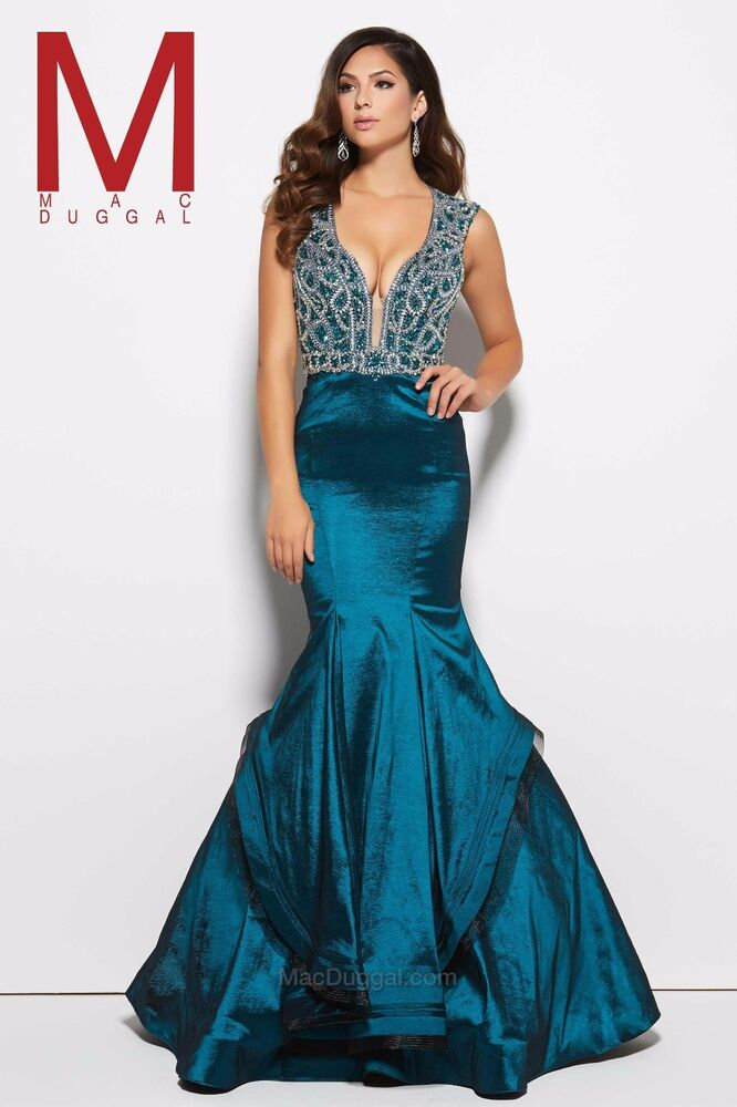 ef4aa684ce5 Details about Mac Duggal Prom Style 48409M in Peacock size 10 (runs small)