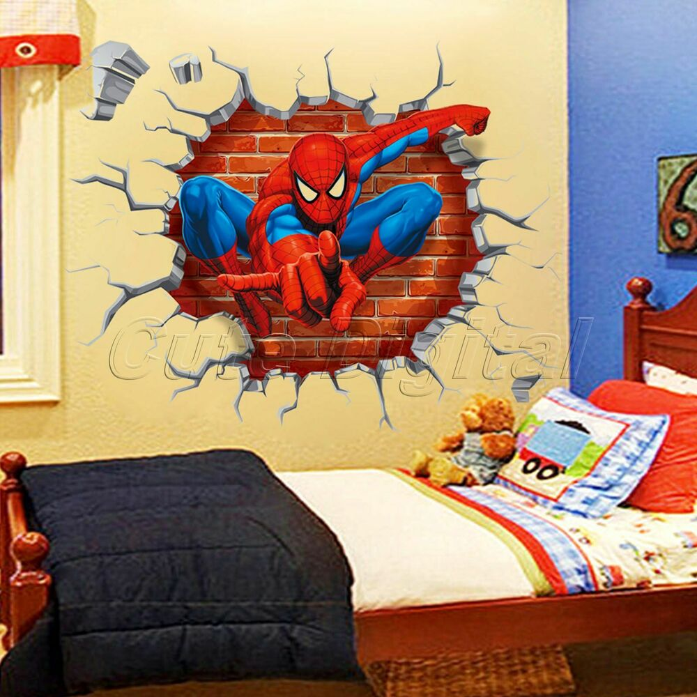 Cracked 3d spider man wall sticker kids boys bedroom mural for Boys bedroom mural