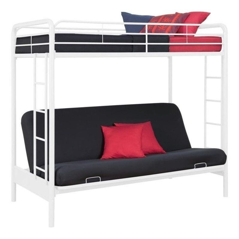 DHP Metal Twin Over Full Futon Bunk Bed in White ...