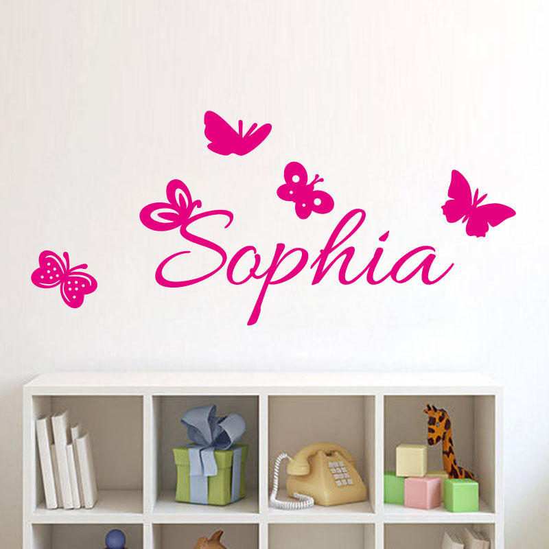 butterflies personalized decal custom kids name wall. Black Bedroom Furniture Sets. Home Design Ideas