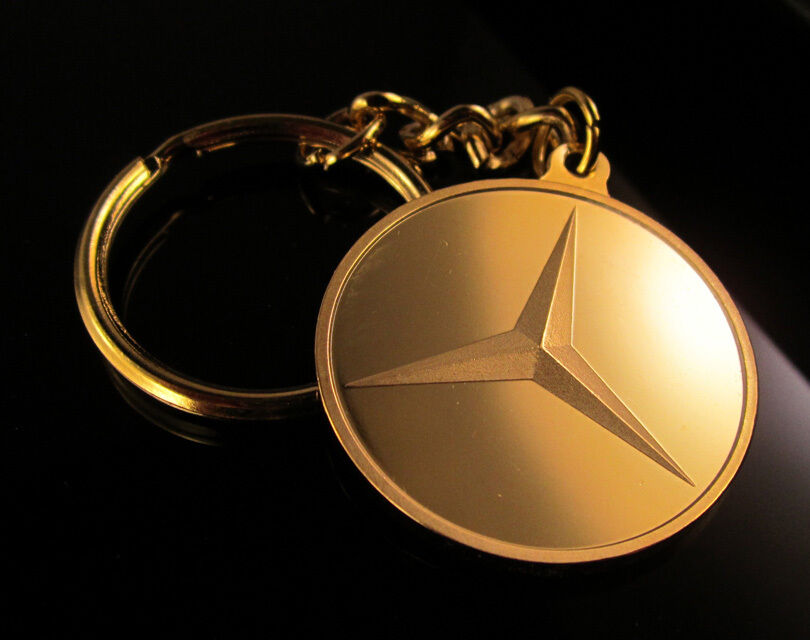 24k gold layered keyring key ring key chain with mercedes for Mercedes benz ring