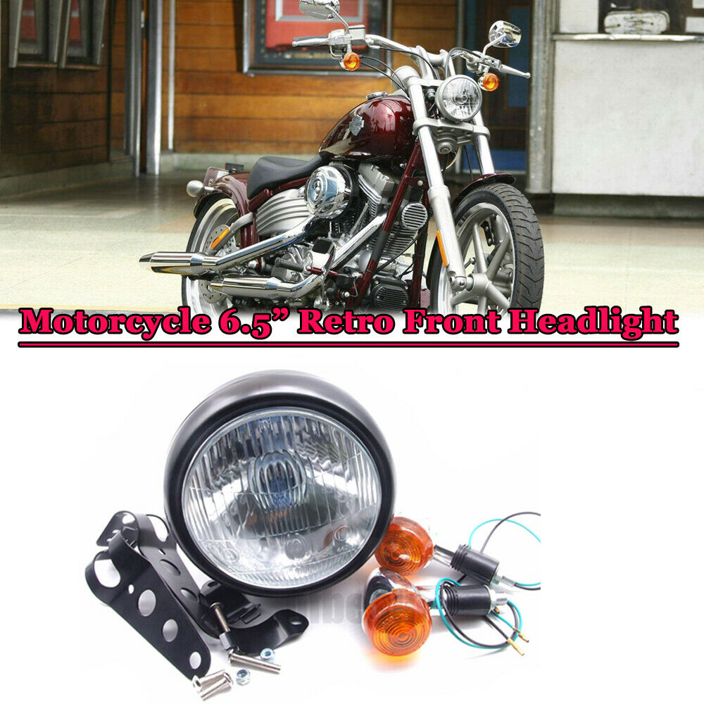 Cafe Racer Headlight Assembly : Motorcycle retro front headlight black metal mount for