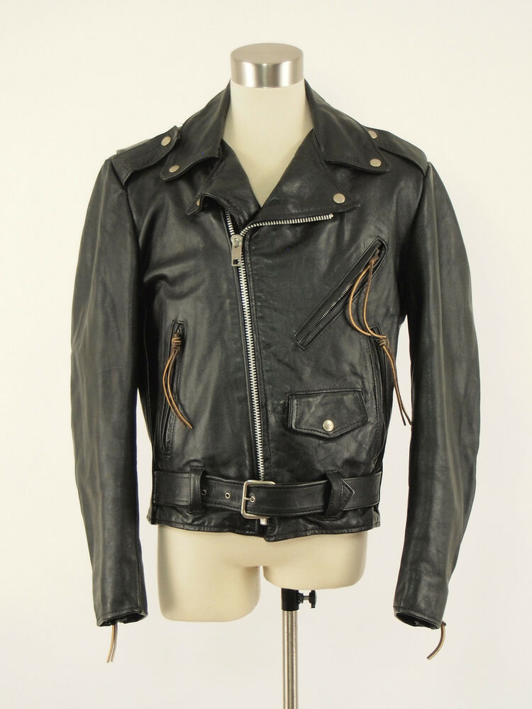 Mens 38 R Black Raffinatti Cutaway Jacket Tuxedo Morning: 1970s EXCELLED Vintage Black Leather Classic Motorcycle