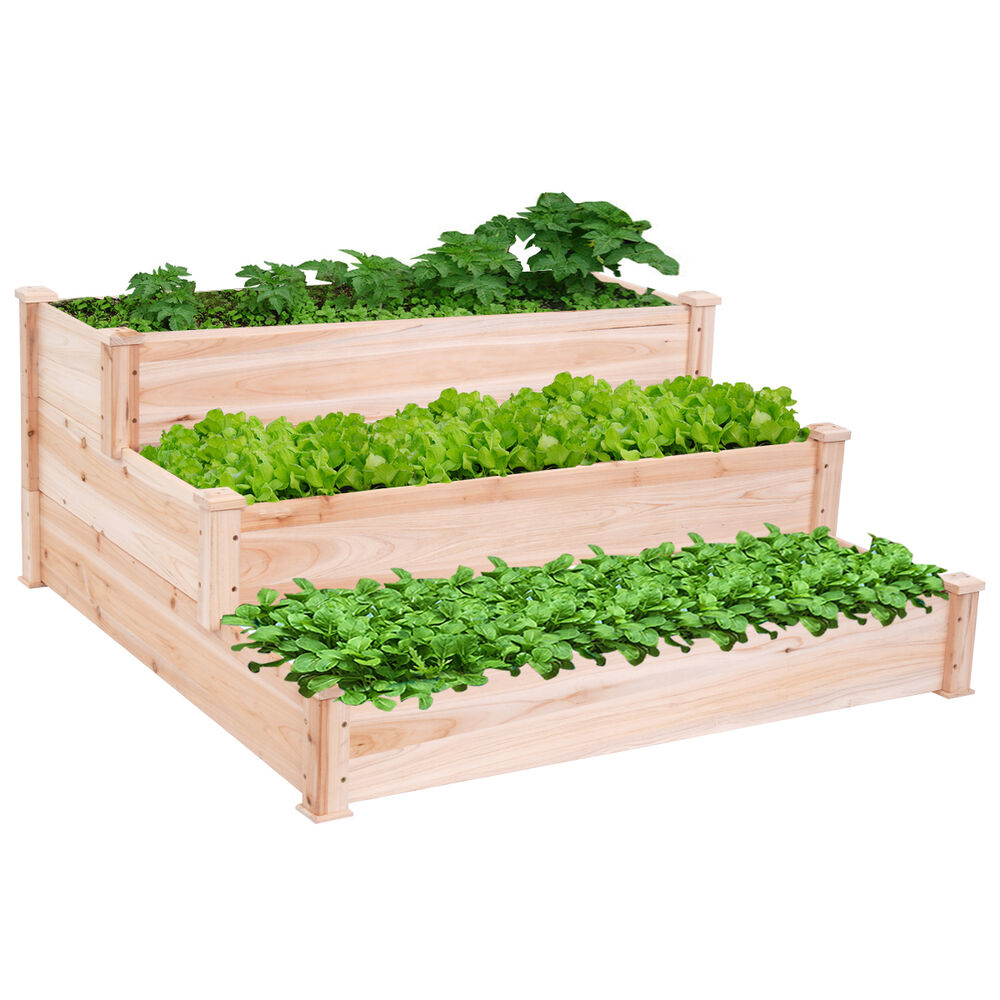 Gardening Beds: Wooden Raised Vegetable Garden Bed 3 Tier Elevated Planter