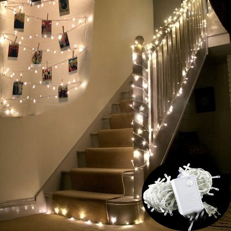 10m 100 led indoor warm white bedroom fairy lights us plug tree party lamp decor ebay. Black Bedroom Furniture Sets. Home Design Ideas