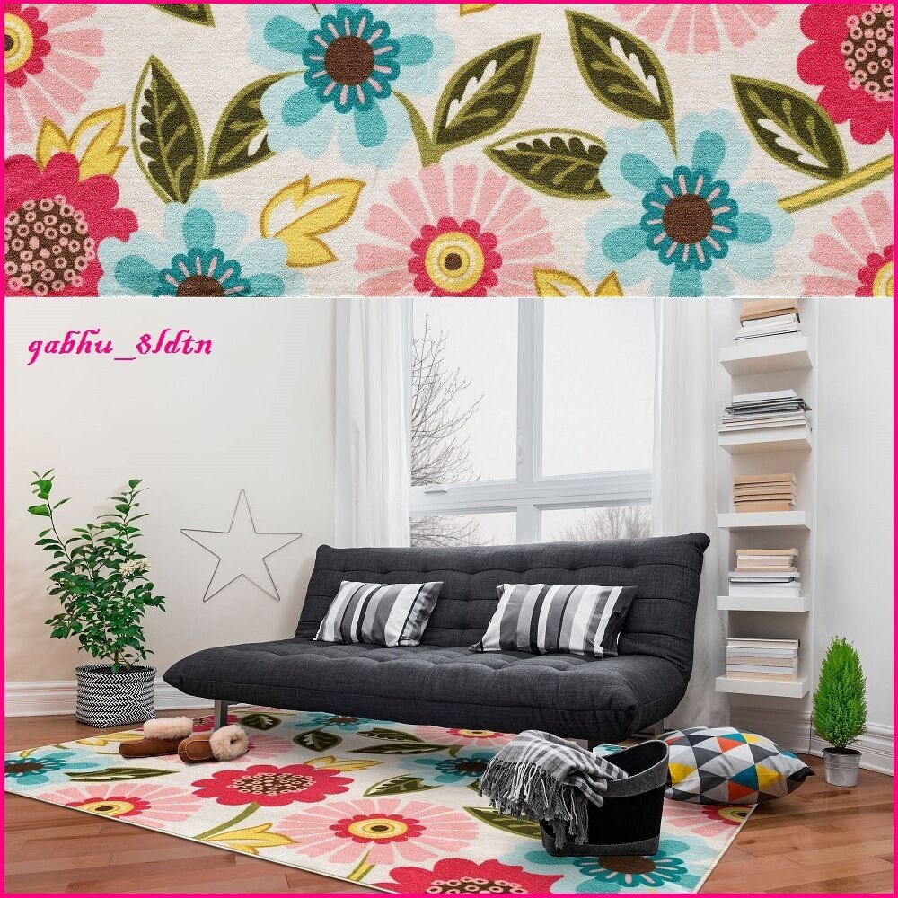Teen Girls Area Rug Contemporary Pink Teal Yellow Floral