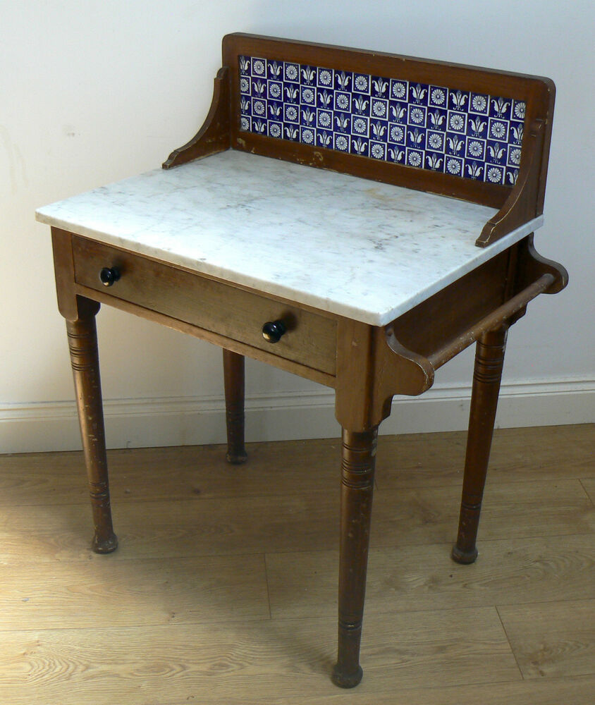 Tiled Console Table ~ Vintage french washstand console table antique retro