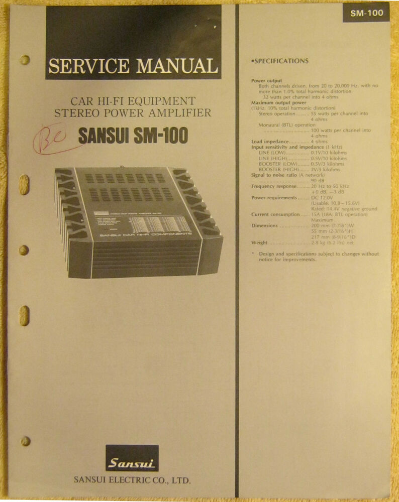Sansui Sm 100 Car Hi Fi Equipment Stereo Power Amplifier Vtg Repair Block Diagrams Of Electronic Equipments Electronics And Infomation Ebay