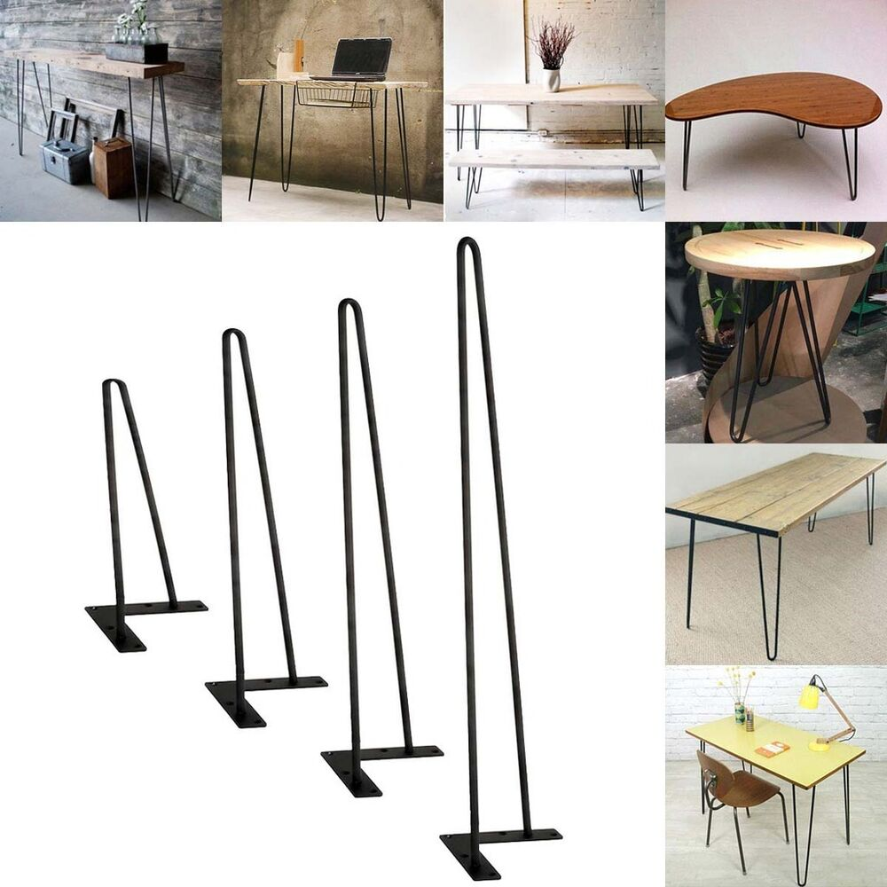 Coffee Table Hairpin Legs 16 18 22 28 Set Of Four 3 8 Solid Iron Bar Ebay