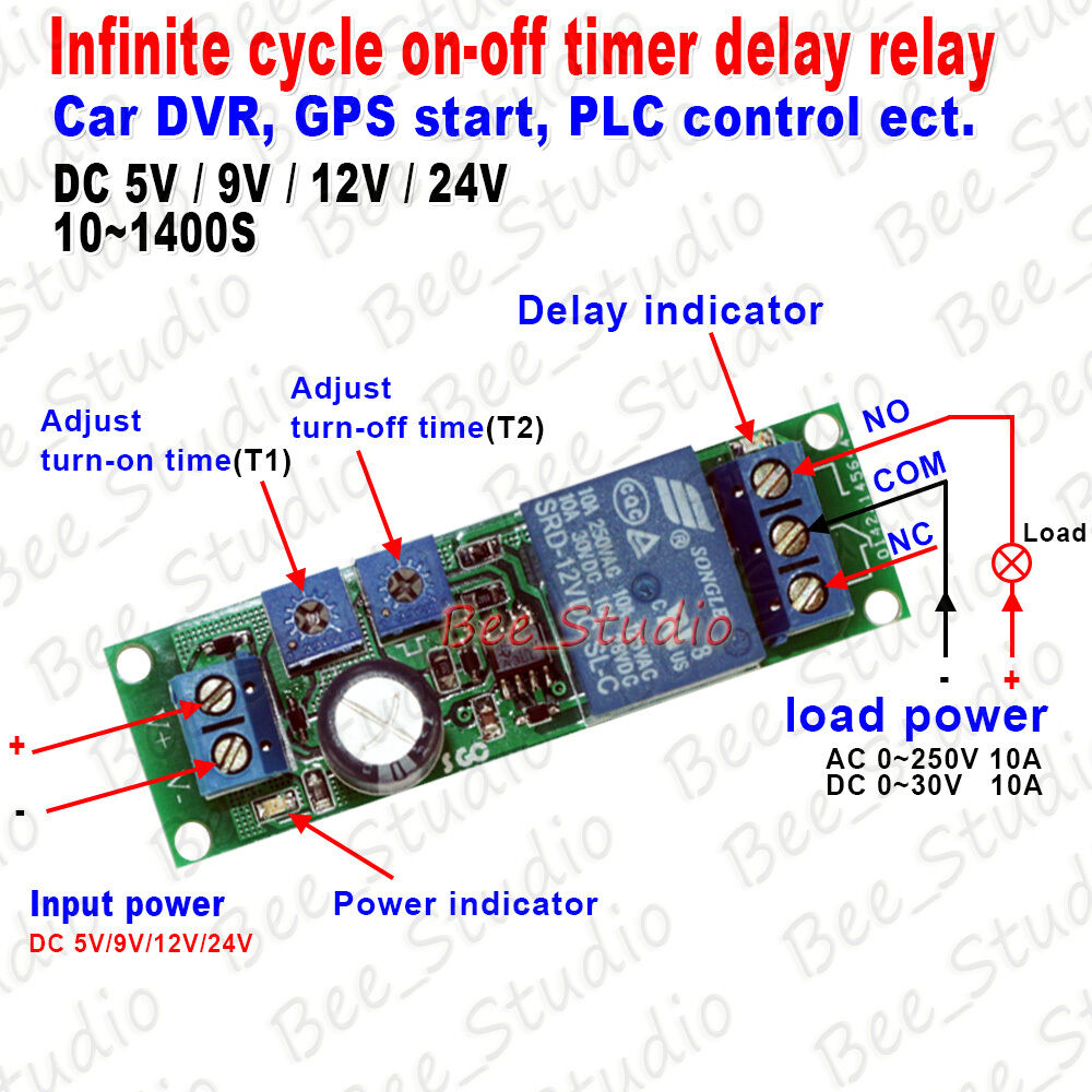 Dc 5v 9v 12v 24v Infinite Loop Cycle Timer Time Delay Relay Switch Circuit On Off Module Ebay