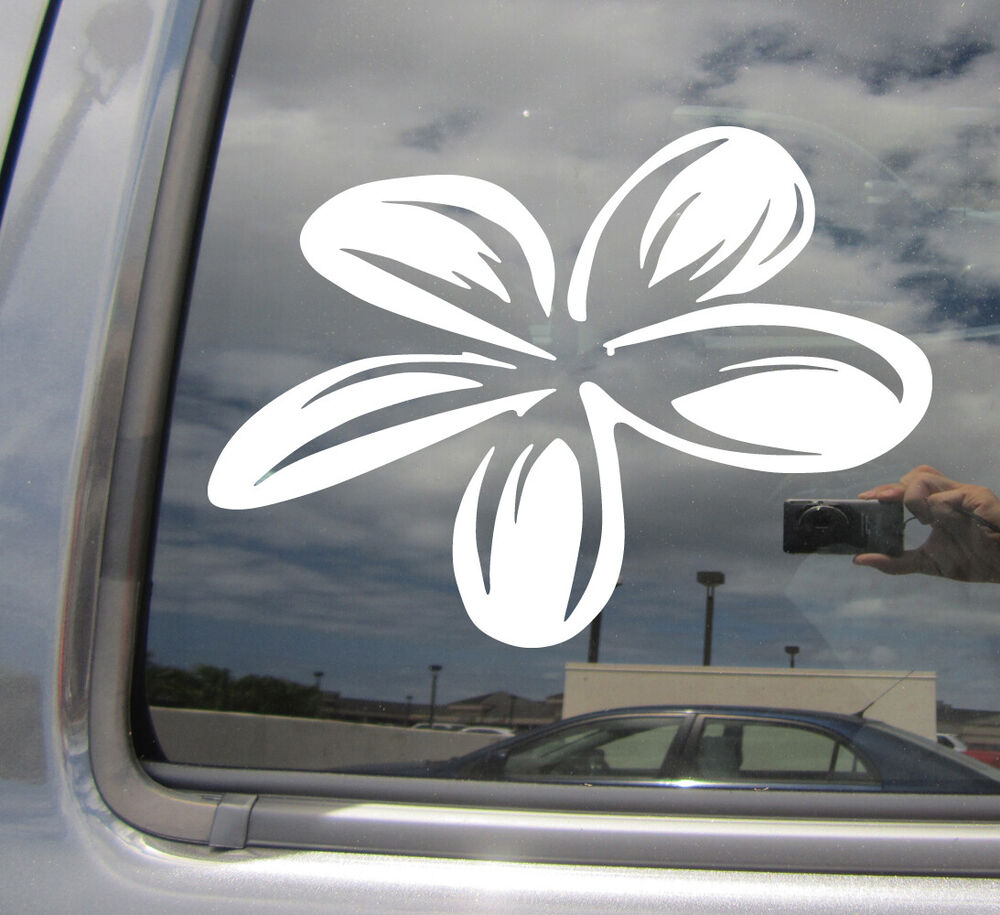 Vinyl Window Decals : Plumeria flower island girl tropical car auto window