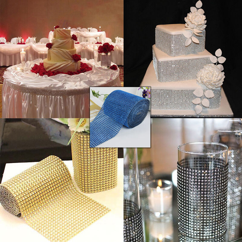 diamond decorations for weddings mesh wrap roll cake rhinestone wedding ribbon 3513