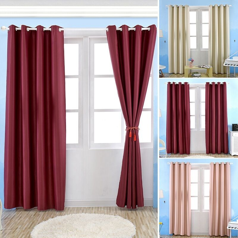 Delicate Blackout Curtain Simple Long Finished Window Eyelet Drapes For Room 1pc Ebay