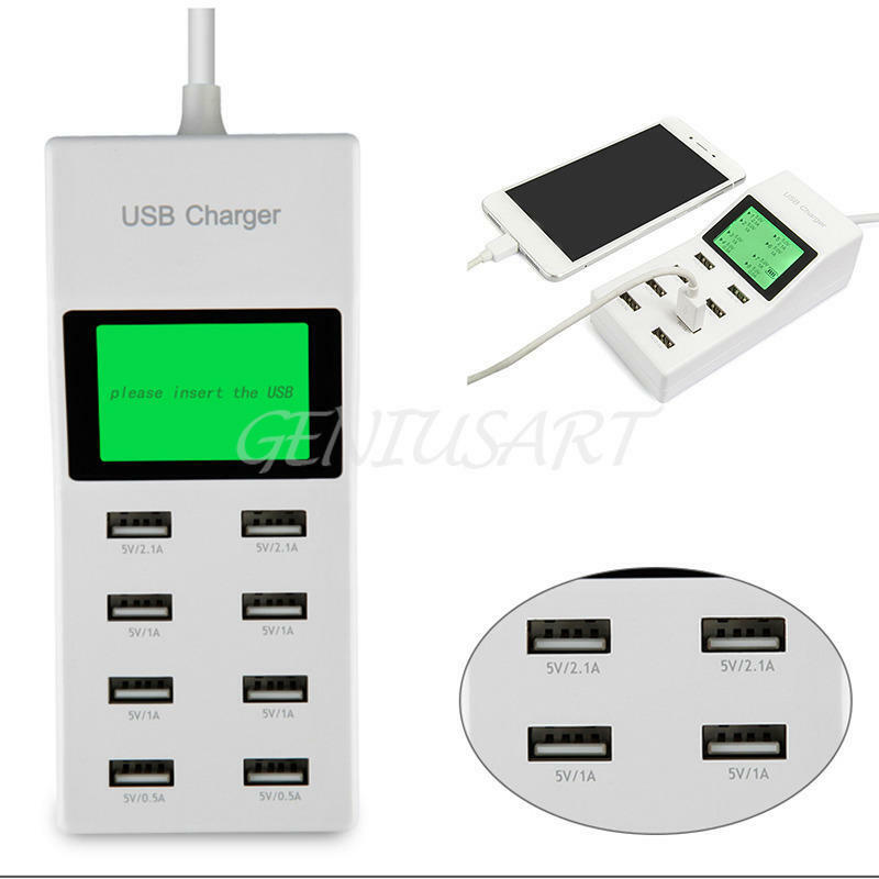 Port Charger Adapter With Digital Display: 8 Multi-Port USB Adapter Desktop Wall Charger Smart LED
