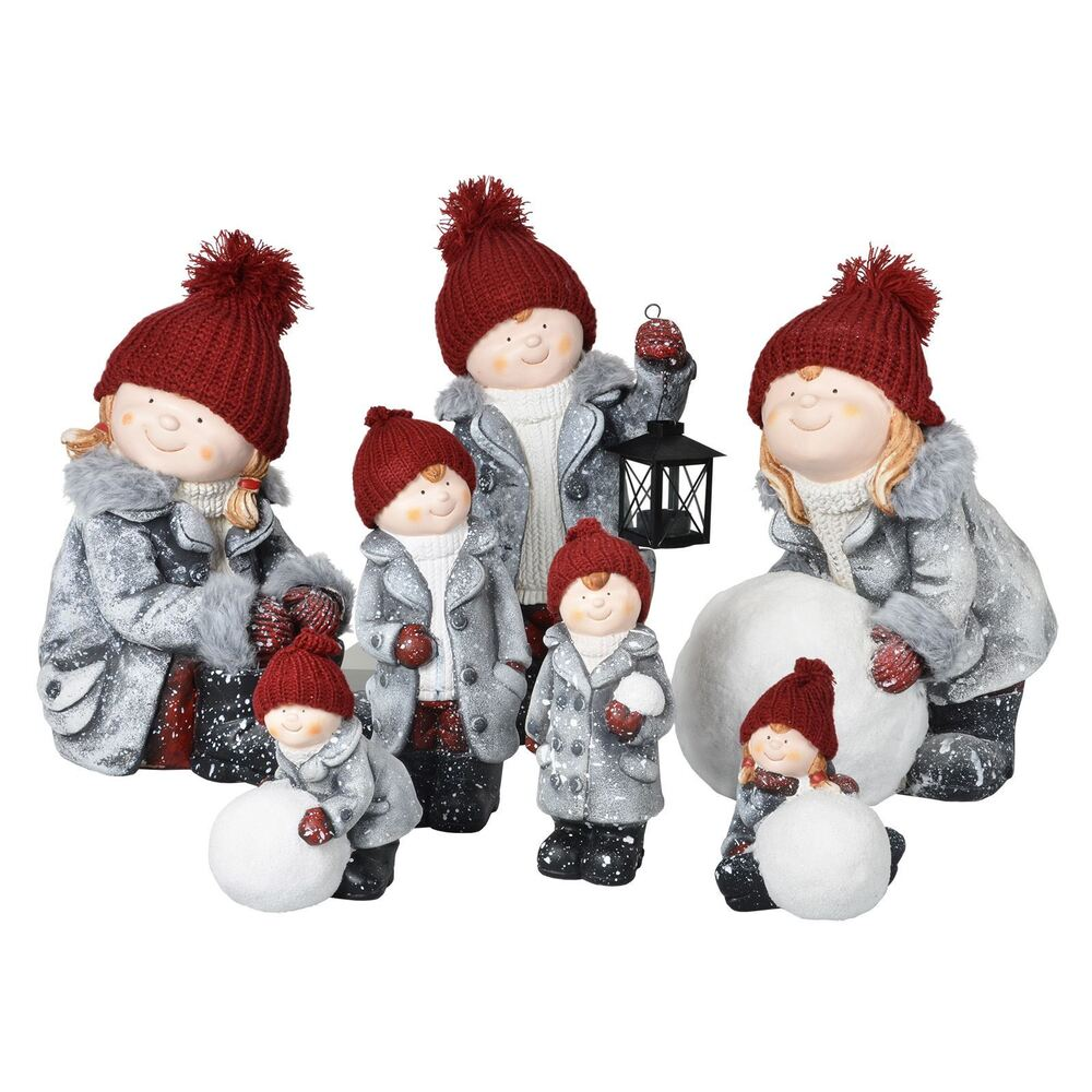 Christmas Statue Decorations: Ceramic Christmas Collectible Boy/Girl Figurines Indoor
