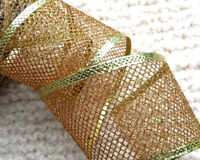 1 mtr  63mm WIRED SHEER ORGANZA IVORY & GOLD TREE GLITTER XMAS CHRISTMAS RIBBON