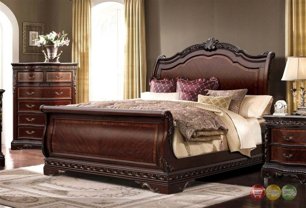 Bella Traditional Ornate Queen Sleigh Bed With Mahogany