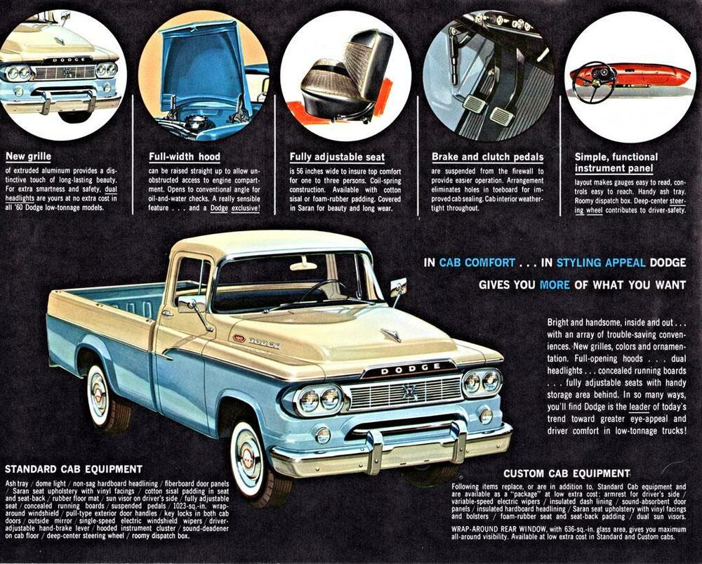 Old Print 1960 Dodge Pickup Cab Features Truck Advertisement Ebay