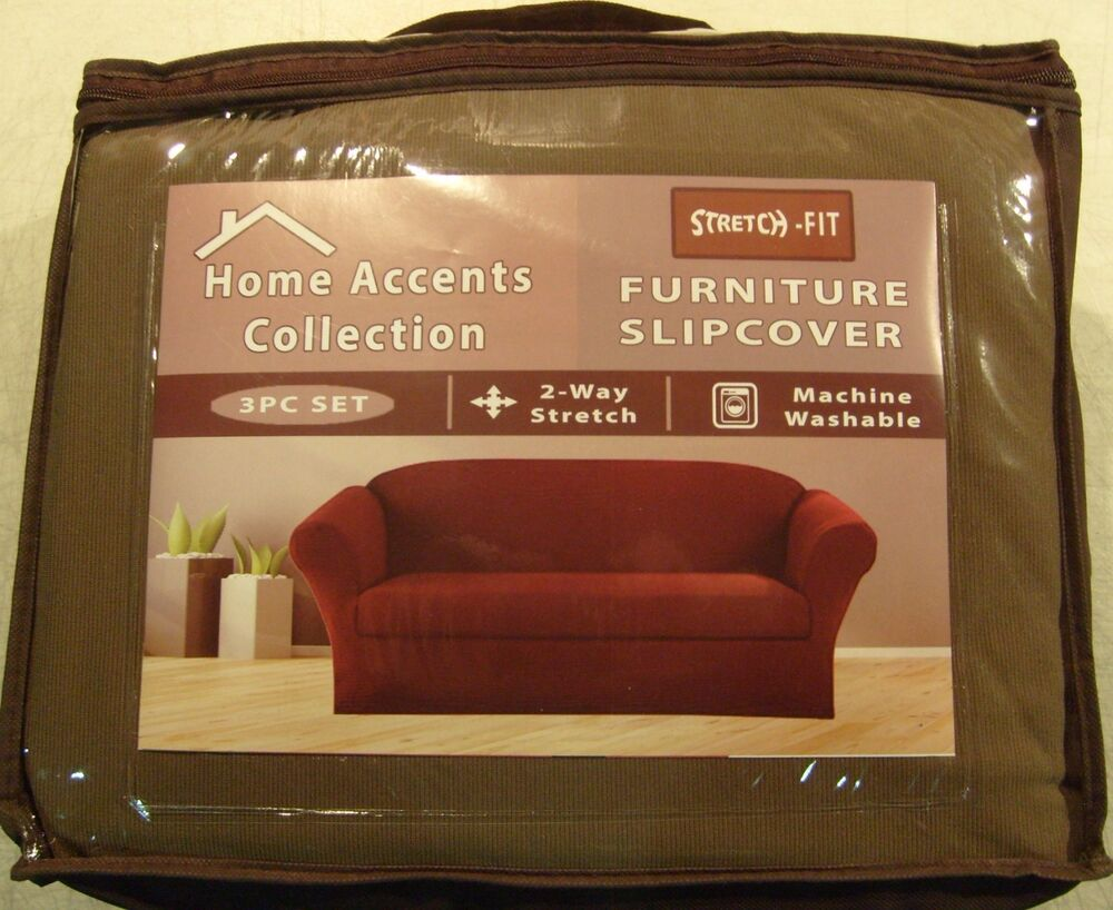 Stretch Fit 3 Pcs Furniture Slipcover Set Sofa Couch Loveseat Chair Covers Tan Ebay