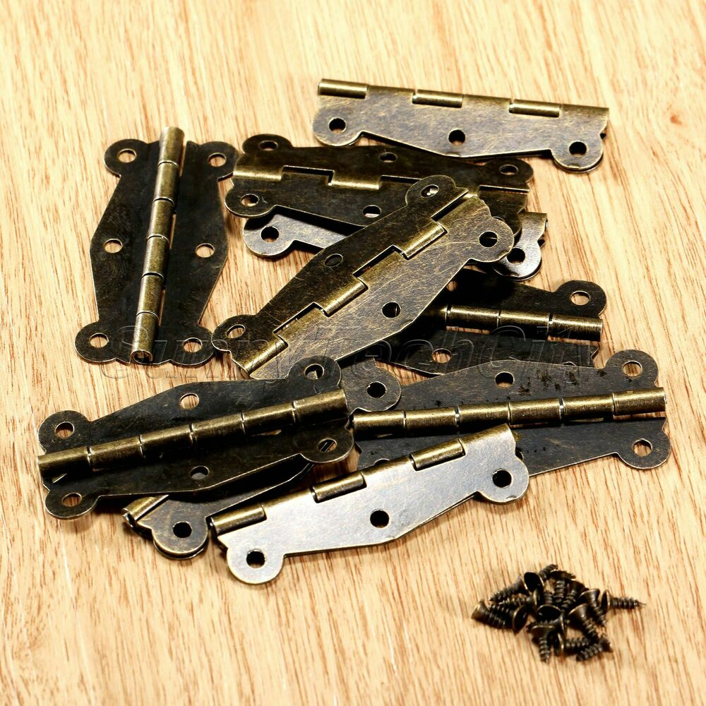 10x retro antique brass butterfly mini hinges for cabinet. Black Bedroom Furniture Sets. Home Design Ideas