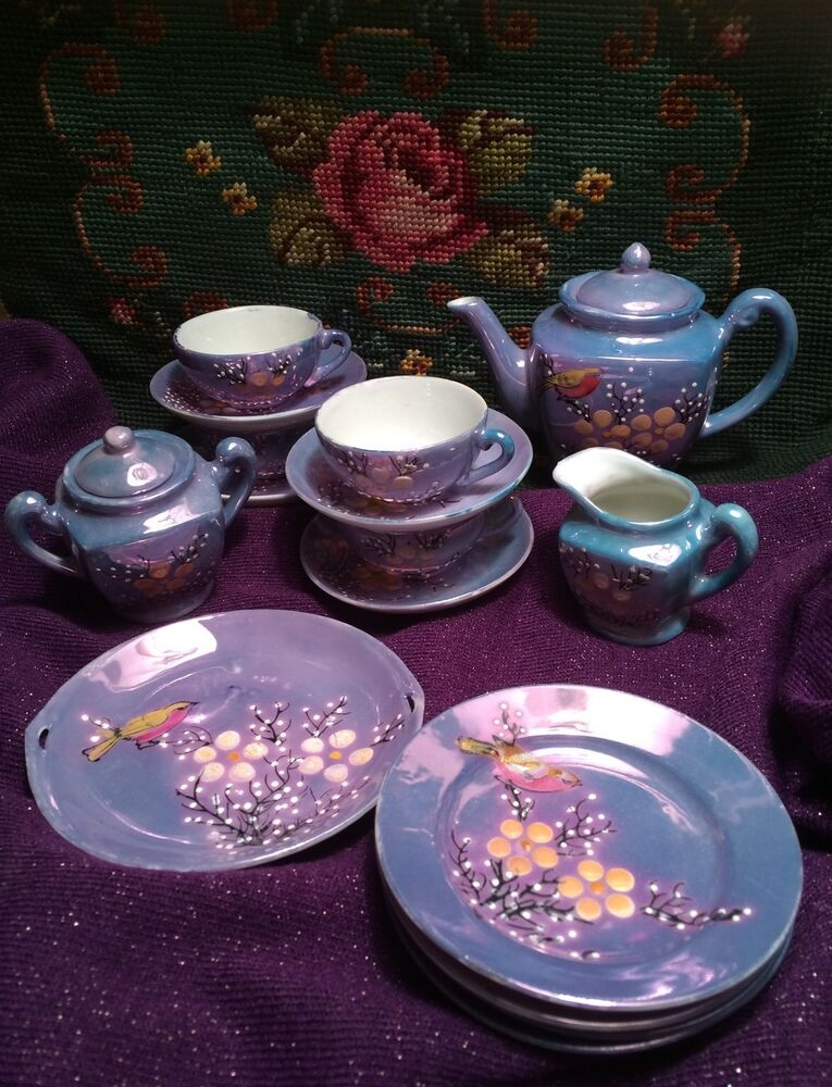 Toy Tea Set : Vintage lusterware porcelain child s cherry blossom blue