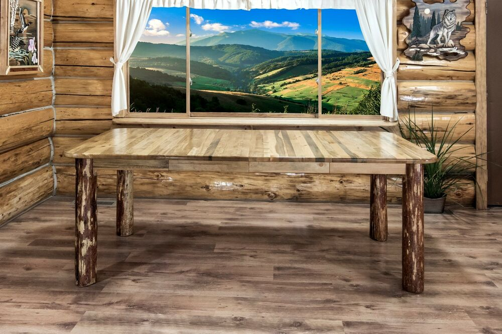 Rustic log dining room tables 7 foot solid pine extending for 7 foot dining room table