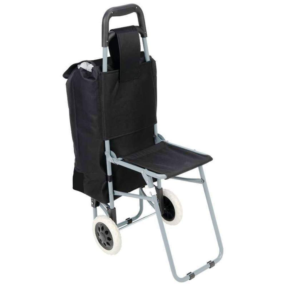 Black trolley travel shopping bag grocery rolling wheel for Chair shopping