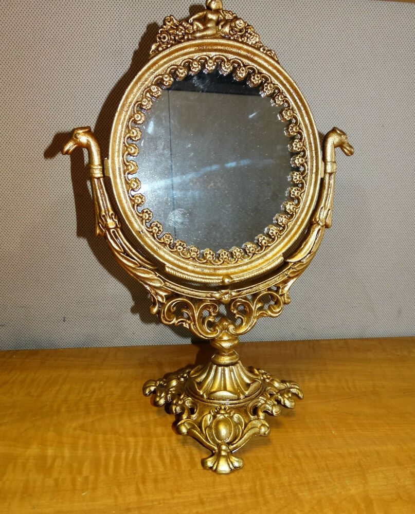 Vintage Cast Gold Vanity Mirror on Stand Makeup