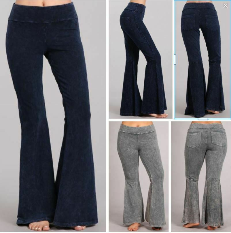 9012898be18 Chatoyant Stone Effect Hippie Bell Bottom Flare Stretch Pants Yoga Plus S-3X