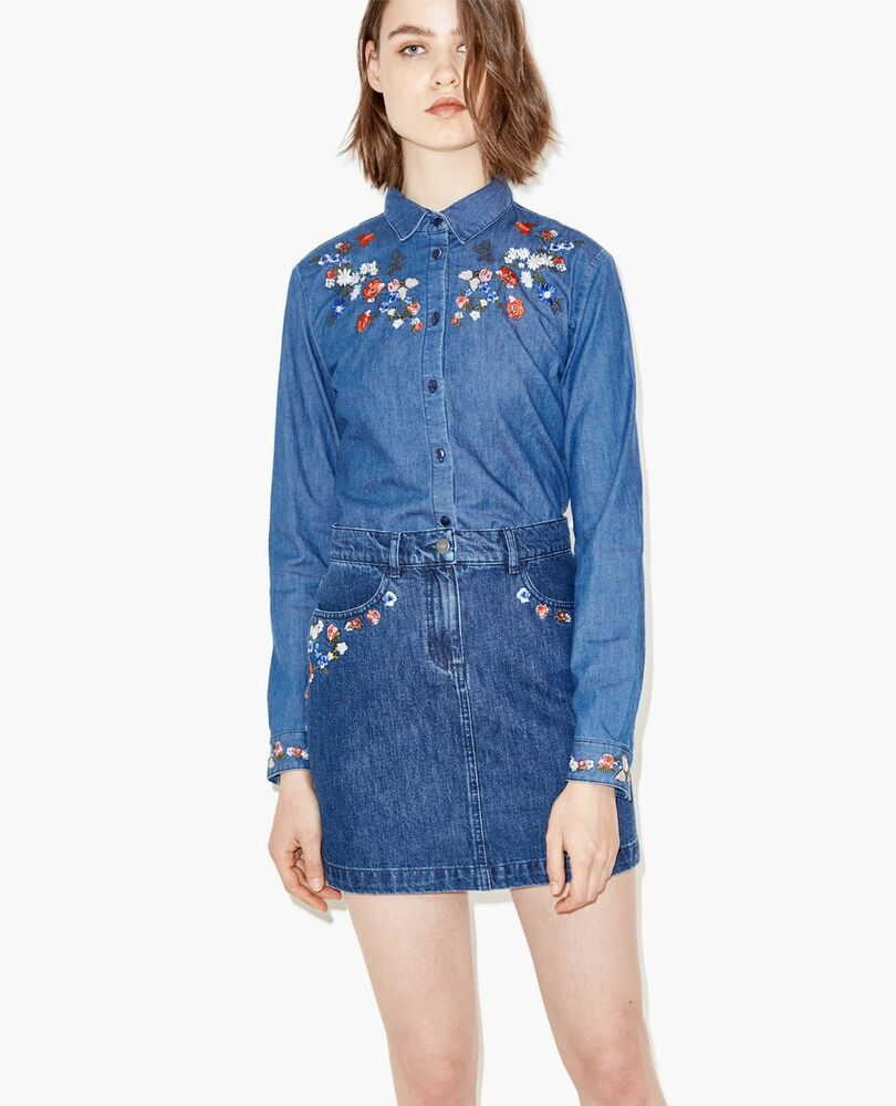 New The Kooples Embroidered Long Sleeve Denim Shirt And