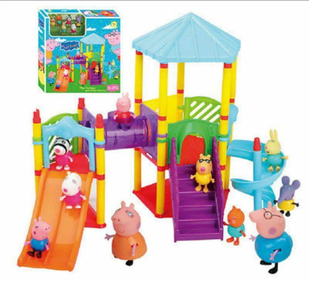 Peppa Pig Toys : New peppa pig big sliding amusement park with friends