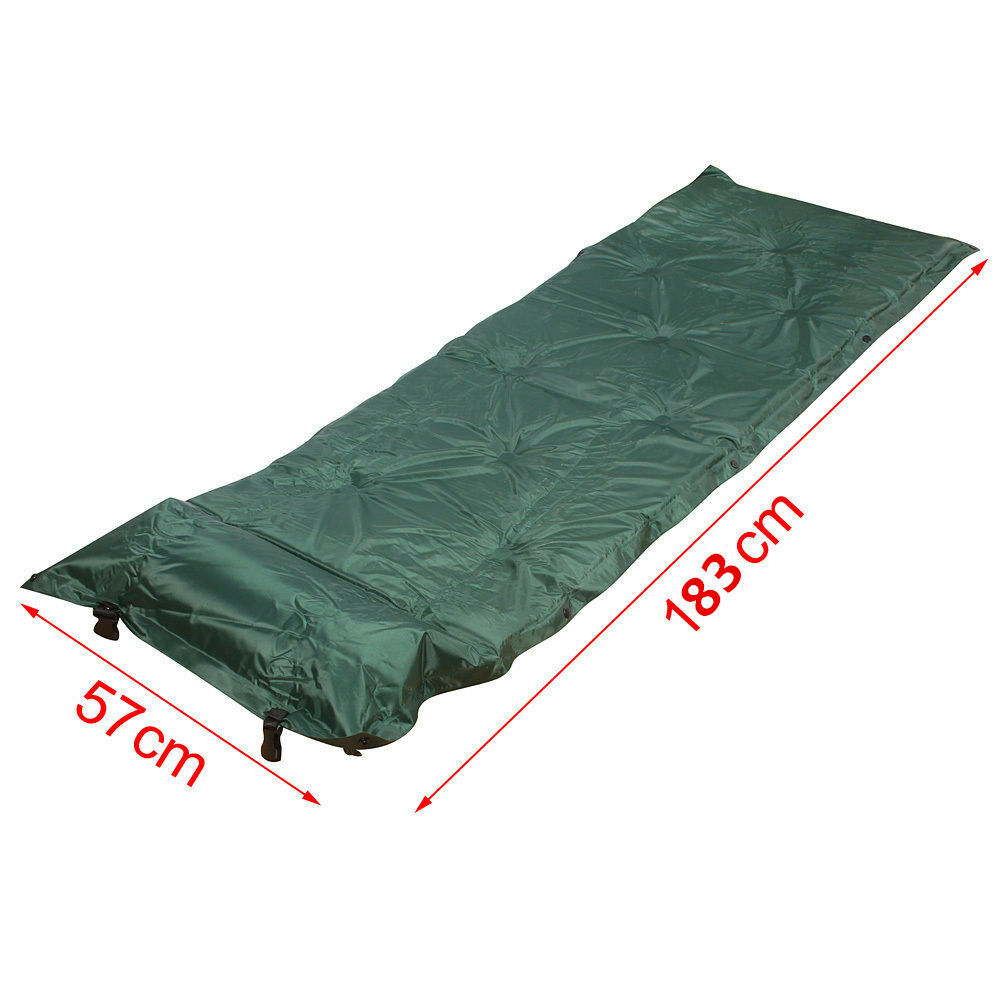 Green Self Inflatable Air Pillow Bed Camping Roll Mat Pad