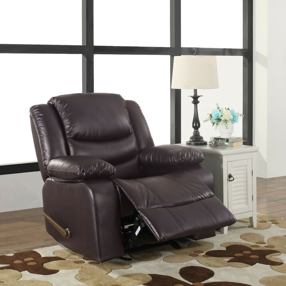 Bonded Leather Brown Single Seat Living Room Recliner And Rocking Chair Ebay