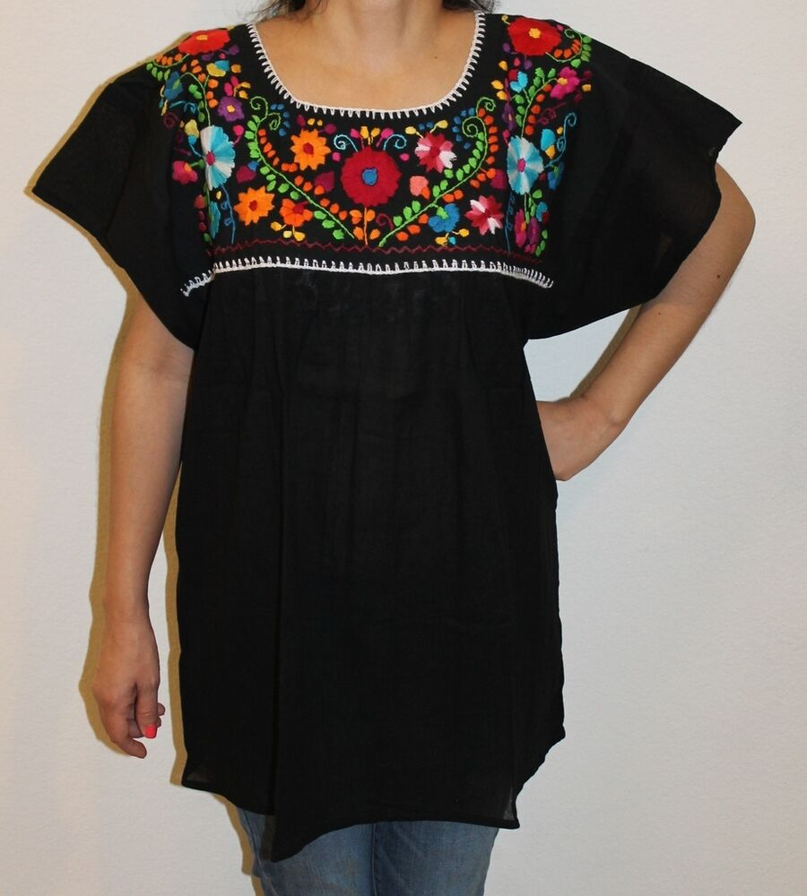 Black peasant boho gauze cotton mexican embroidered