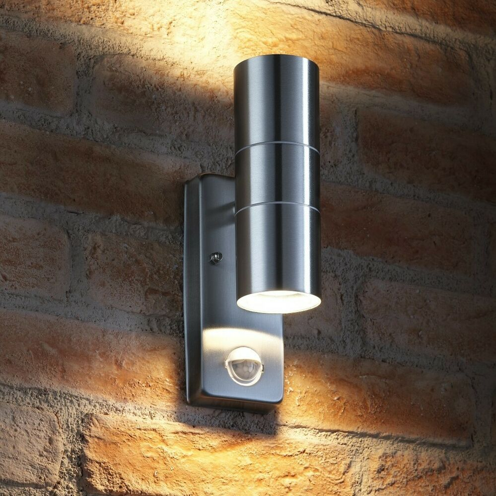 Auraglow Pir Motion Sensor Stainless Steel Up Amp Down Outdoor Wall Security Light Ebay