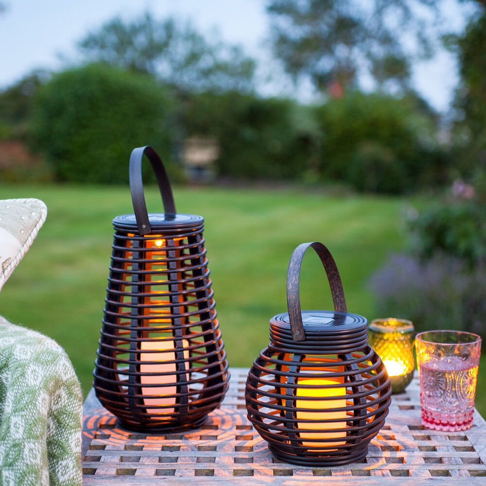 set of 2 solar powered rattan outdoor led candle lanterns for garden patio ebay. Black Bedroom Furniture Sets. Home Design Ideas
