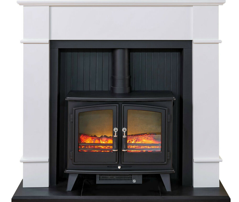 Electric Black Stove White Modern Surround Freestanding Log Fire Fireplace Suite Ebay