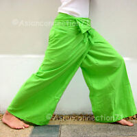 Thai XXXL Plus Size Middle Weight Cotton Fisherman Yoga Pants Solid LIME GREEN