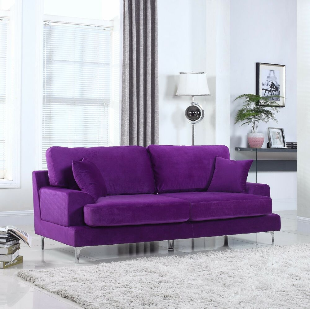 Ultra Plush Velvet Living Room Sofa In Purple Ebay