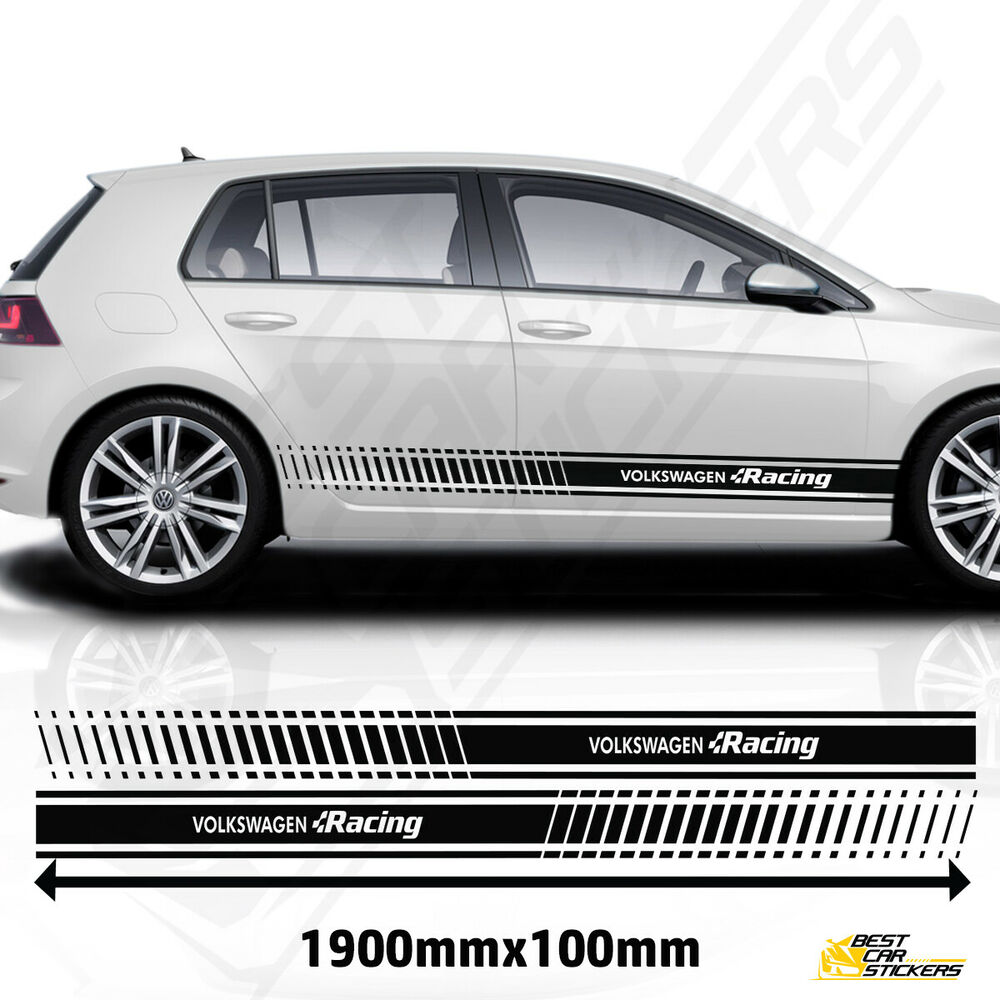 vw golf racing side stripes stickers decal tuning car. Black Bedroom Furniture Sets. Home Design Ideas