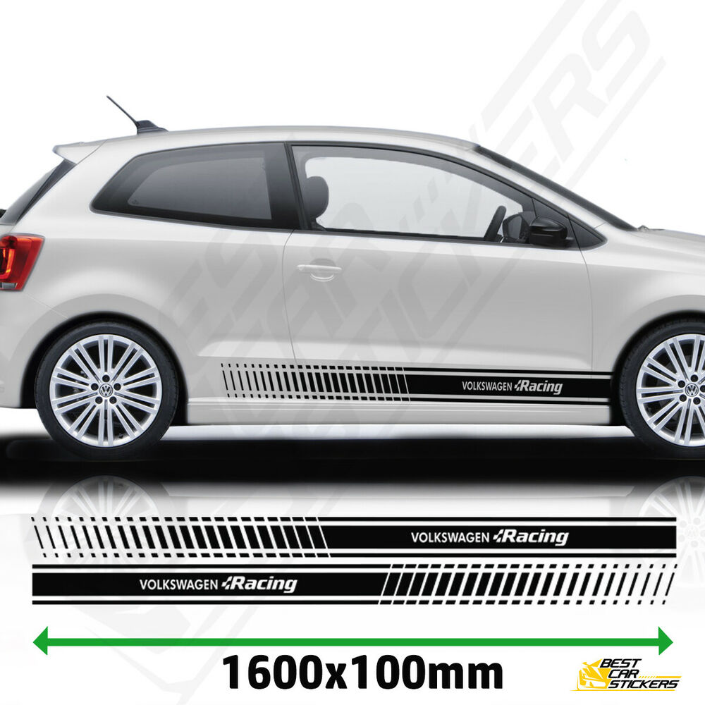 racing stripes stickers decal for vw polo tuning car. Black Bedroom Furniture Sets. Home Design Ideas