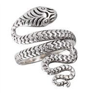 Sterling Silver King Cobra Snake Ring Size 6-12