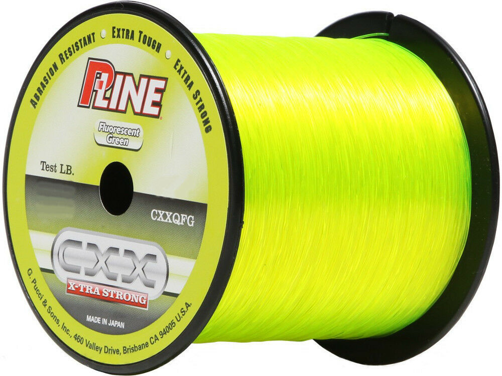 P line cxx fluorescent green x tra strong fishing line 370 for Fishing line test